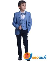 Erkek Çocuk Mavi Yelekli Çocuk Takım Elbise - Thumbnail