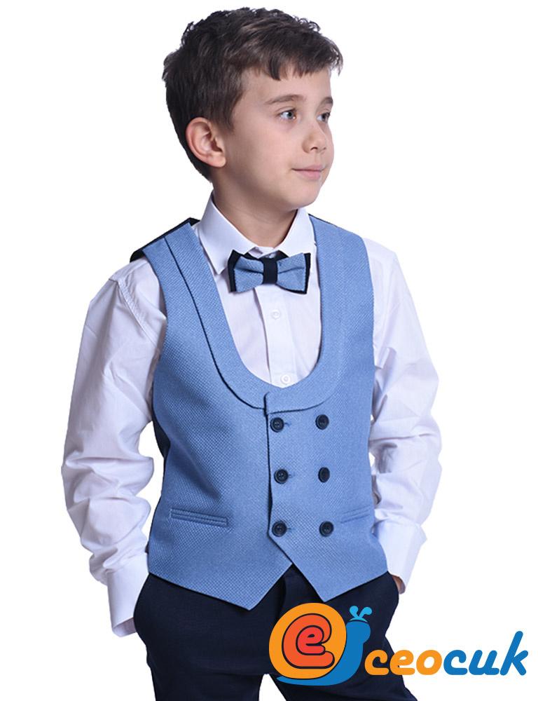 Erkek Çocuk Mavi Yelekli Çocuk Takım Elbise