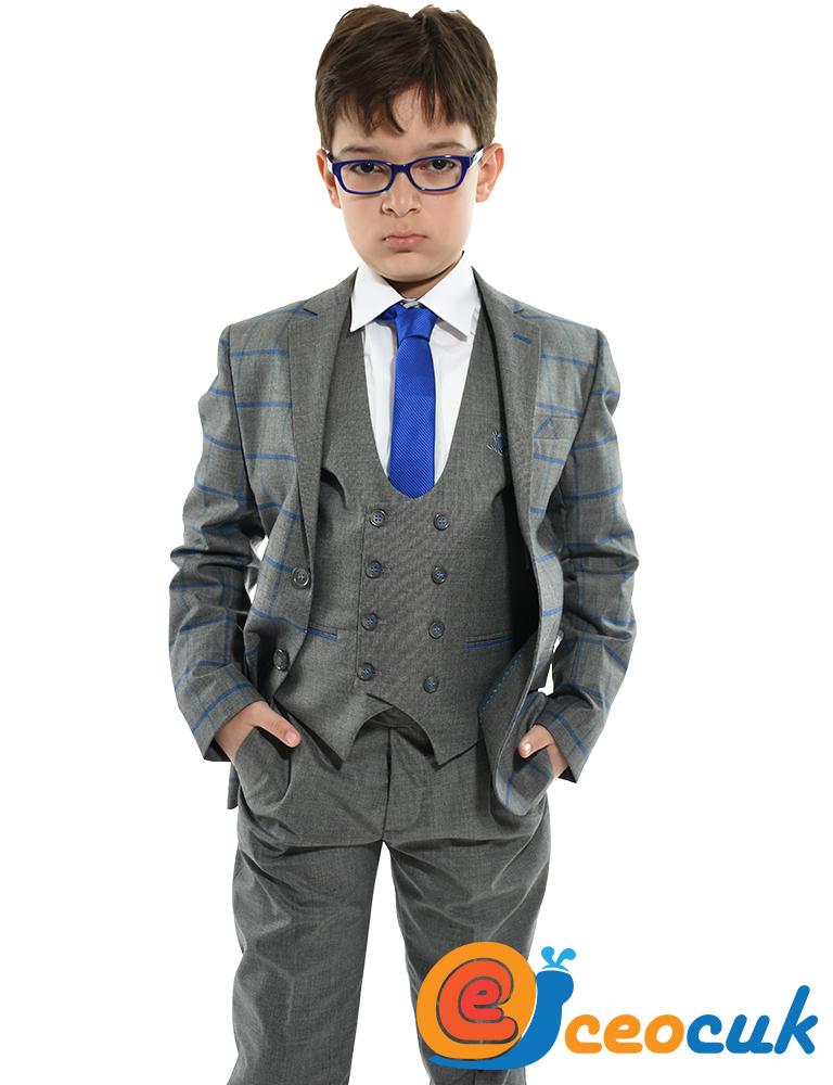 3e1f1c5b9c97d Gri Rengi Mavi Kareli Çocuk Takım Elbise