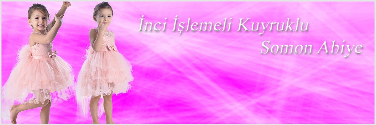 ceocuk - SOMON RENGİ İNCİLİ İŞLEMELİ TUTU ELBİSE